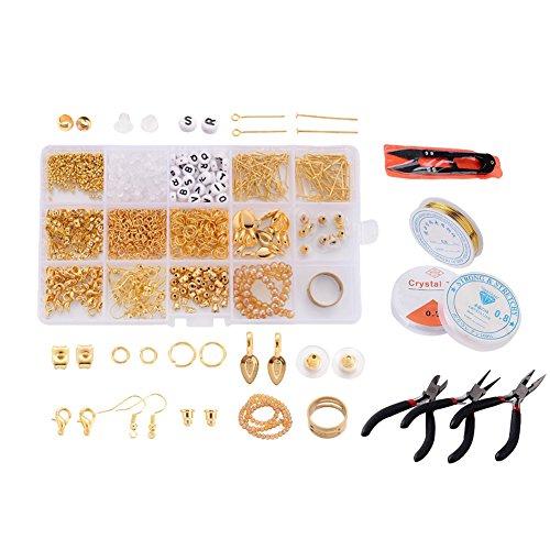 - Kissity 20 Styles Golden Jewelry Finding Starter Kits Bails Earring Hooks Earring Backs Earnuts Crimp Beads Jump Rings Lobster Clasps Headpins Crystal Thread Copper Wire Plier Set for Jewelry Making