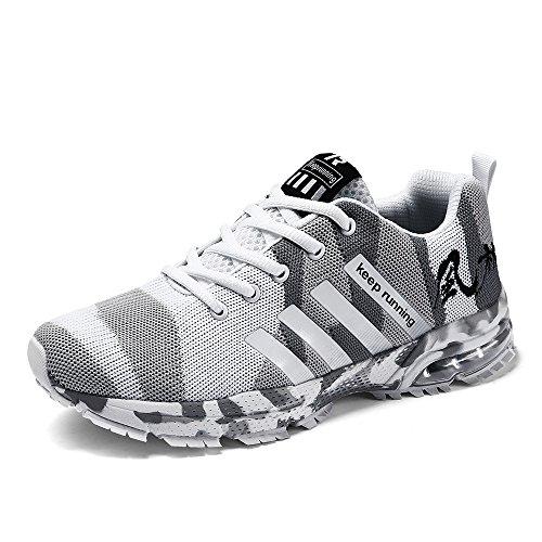 CAGAYA Damen Herren Laufschuhe Outdoor Athletic Training Licht Laufschuhe für Männer Tarnung Sneaker Weiß