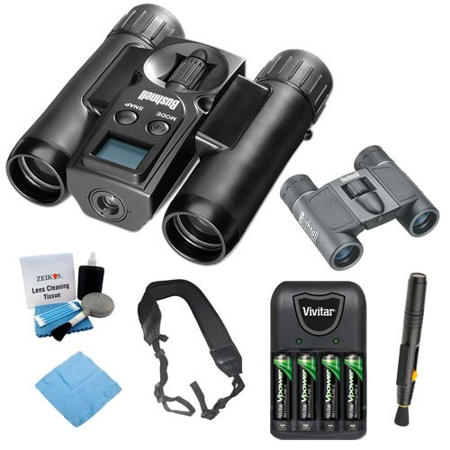 Bushnell 111026 ImageView 10x25 Roof Prism Binocular w/ VGA Digital Camera + Folding Prism Binocular + Charger w/ 4pcs AAA Batteries + Accessory Kit