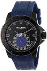 Haurex Italy Men's 3N503UBB Acros Black Ion-Plated Coated Stainless Steel Blue Rubber Strap Watch