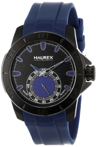 Haurex Italy Men's 3N503UBB Acros Black Ion-Plated Coated Stainless Steel Blue Rubber Strap Watch by Haurex