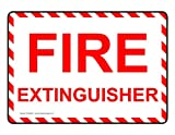 ComplianceSigns Glow-in-Dark Aluminum sign 7 x 5 in. with Fire Extinguisher message - White