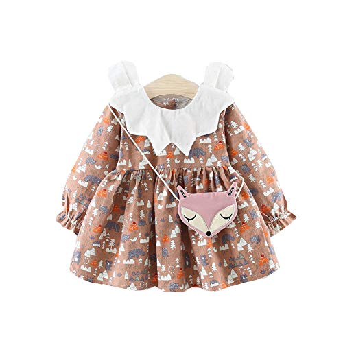 (Baby Girl Long-Sleeved Lovely Animals Print Princess Dress Patry Tutu Dress with Fox Shoulder Bag(Brown,2-3T))