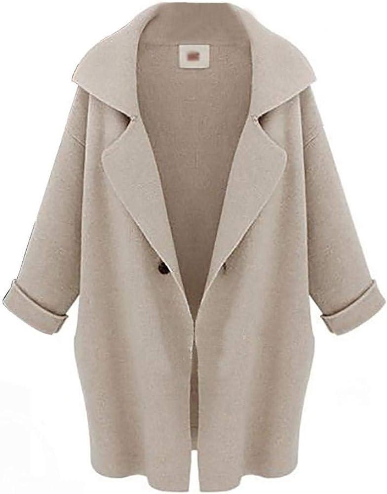 Cappotto Elegante Moda Donna Lunga Giaccone Invernali Larghezza Bavero Manica Lunga Semplicemente Giovane Cardigan Tasche Laterali Casual Taglie Forti Outerwear