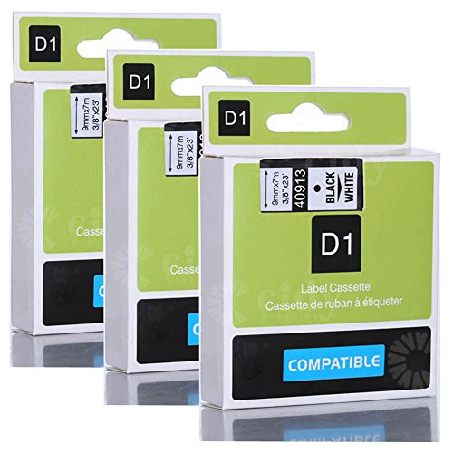 """Wangsale Replacement Label Tape Compatible for DYMO D1 40913 9mm x 8m 3/8"""" X 23' (3 PK Black on White)"""