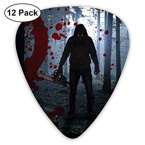 Scary Halloween Man with Bloody Forest Chainsaw Bendy Ultra Thin 0.46 Med 0.73 Thick 0.96mm 4 Pieces Each Base Prime Plastic Jazz Mandolin Bass Ukelele Guitar Pick Plectrum Display]()