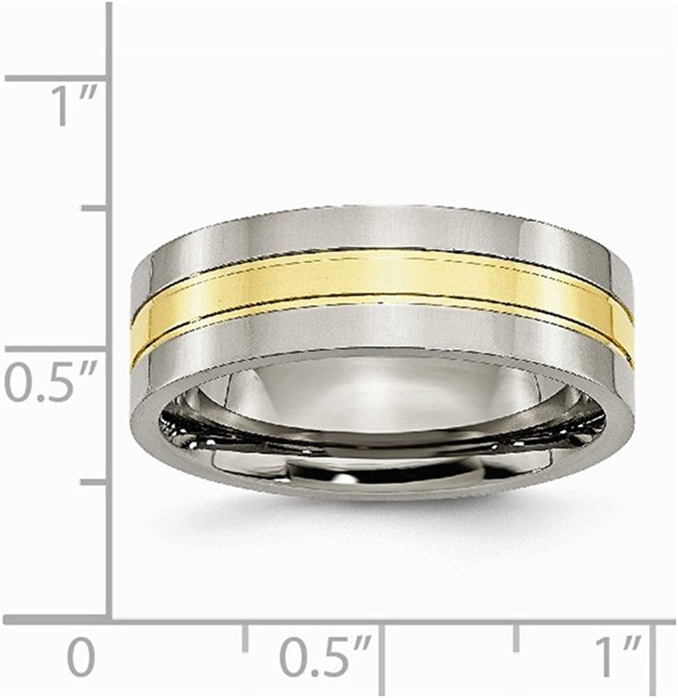 Brilliant Bijou Titanium Yellow IP-Plated Grooved 7mm Polished Band