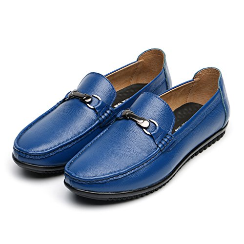 Shoes Blue LIVEINU Leather Slip On Loafers Casual Men's nUTqB6wO