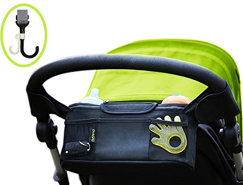 Stroller Organizer / Stroller Cup Holder With Bonus Stroller Hook– The Must-Have Stroller Accessory. Keep All Your Essentials Easy To Reach. Fits All Major Strollers. (Black)