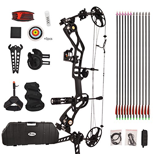 Vidagoods 15lb-70lb Draw Weight 320 FPS IBO Tactical Compound Bow Package Set Combo CNC Milled Machined Aluminum Right Handed (Black) (Best Tactical Compound Bow)