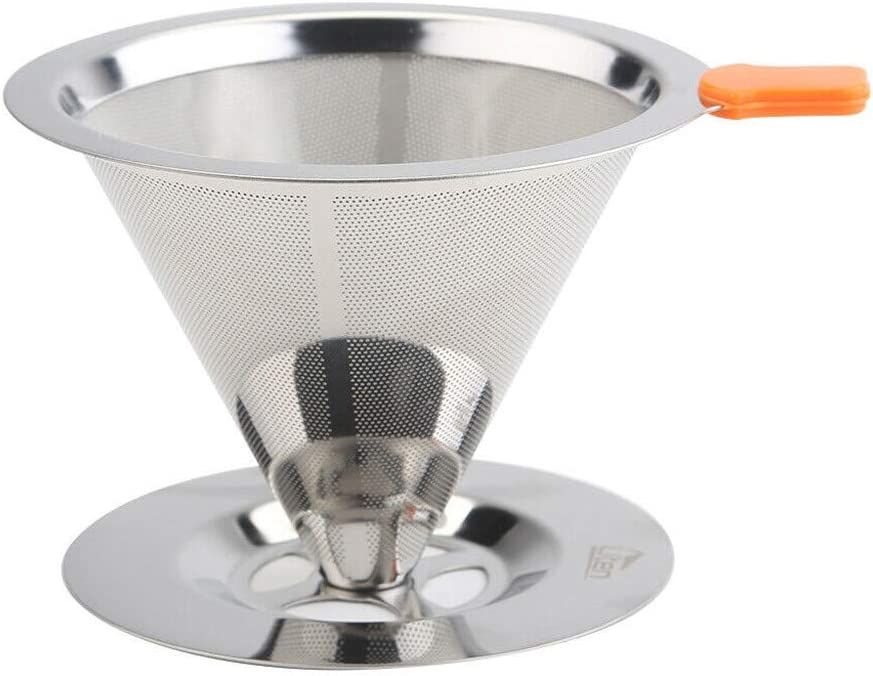Daoag Stainless Steel Coffee Filter Pour über Reusable Coffee Cone Dripper mit Removable Cup stehen Metal Pour über Coffee Maker