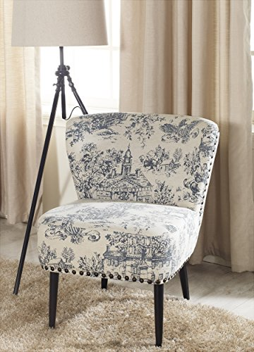 Baxton Studio Onassis Linen Accent Chair, Beige - Traditional loveseat Beige linen with periwinkle blue colonial America print Antiqued bronze upholstery tack trim - living-room-furniture, living-room, accent-chairs - 51jdCSdKpDL -