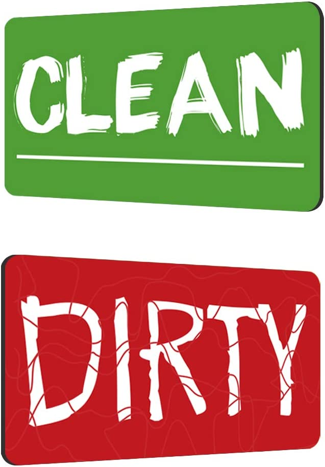 KitchenTour Dishwasher Magnet Clean Dirty Sign Upgrade Strong Magnet Sign Double Sided Flip - With BONUS Magnetic Plate - Reversible Indicator Suitable for All Dishwasher (RED & GREEN)