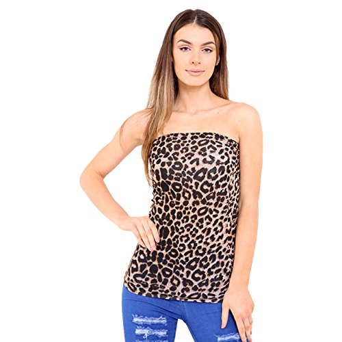 Rewatronics - Camiseta sin mangas - camisa - Sin mangas - para mujer Brown Leopard