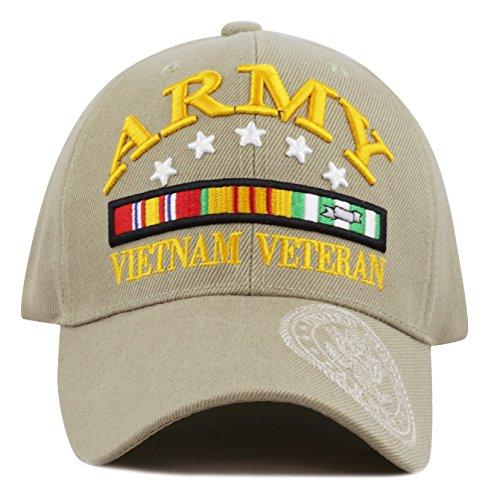 Logo Military Hat (THE HAT DEPOT 1100 Official Licensed 3D Vietnam Veteran Ribbon Logo Cap (Army-Khaki))