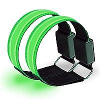 WXLAA 2-Pack LED Armband Adjustable Wristband Reflective Flashing Strips Ankle Glow Bracelet Safety Light for Night Jogging, Walking, Biking, Green