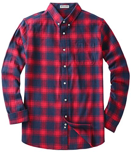 Men's Flannel Long Sleeve Plaid Button Down Western Shirts Red and Navy Medium (Navy Plaid Flannel)