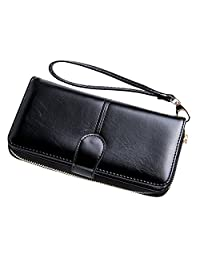 OWL MODE Women Leather Wallet Large Capacity 2 ID/Photo Windows 10 Credit Card Slots Phone Holder and Zipped Pocket for Coins with Removable Wristlet