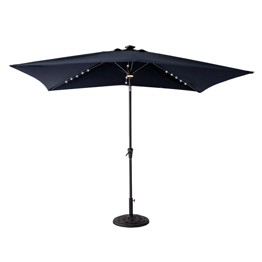 C-Hopetree Solar LED Lights Outdoor Patio Umbrella, 6'6 x 10' Rectangular with Crank Winder, Push Button Tilt, Navy Blue by C-Hopetree