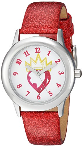 Disney Girl's 'Descendants' Quartz Stainless Steel Casual Watch, Color:Red (Model: WDS000367)