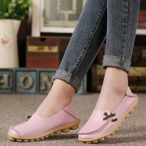 Lucksender Damen Weichleder Comfort Driving Loafers Schuhe Rosa