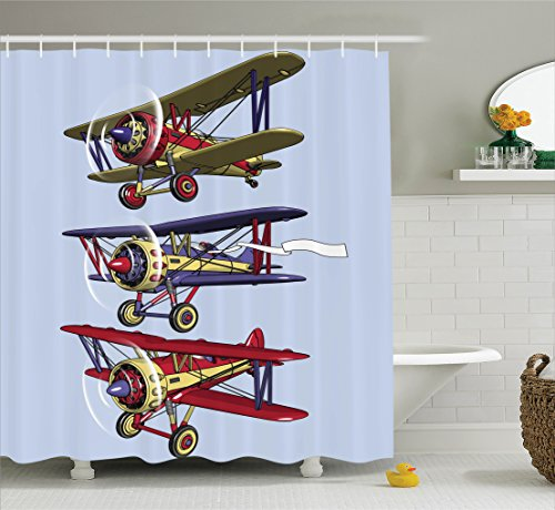 Ambesonne Airplane Decor Collection, Three Biplanes Flies on a Background of Sky Ink Paint Old Fashioned Model Higher Travel Image, Polyester Fabric Bathroom Shower Curtain Set with Hooks, Blue - Old Fashioned Pilot Goggles