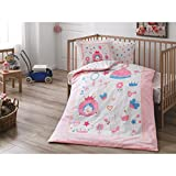 DecoMood Fancy Little Princes, 100% Organic Cotton Soft and Healthy Nursery Crib Bedding Duvet Cover Set for Baby Boys, 4 Pieces