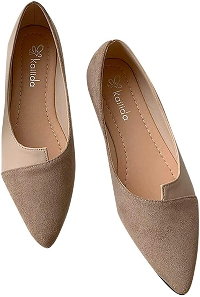 Lurryly Women Splice Color Flats Fashion Pointed Toe Ballerina Ballet Flat Slip On Shoes