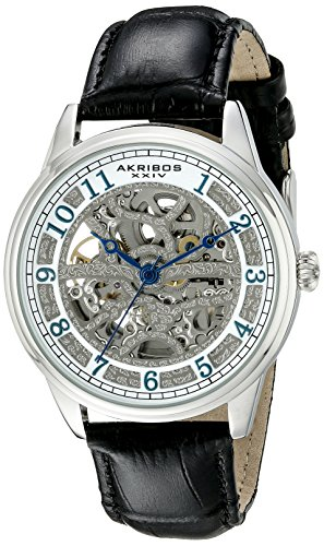 Akribos XXIV Men's AK807SS Automatic Movement Watch with Silver and White Dial Featuring Open Case back and Black Leather Strap