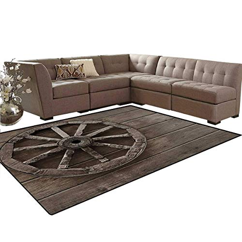 Barn Wood Wagon Wheel,Floor Mat,Antique Aged Carriage Vehicle Wheel on The Wall of Barn Grunge Western,Living Dining Room Bedroom Hallway Office ()