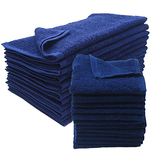 American Terry Mills 12 Dozen 100% Cotton Salon Towels Gym Towels Hand Towel 100% Ring-Spun-Cotton, Maximum Softness, Absorbency & Durability, Navy Blue, 144 Piece by American Terry Mills