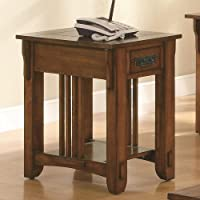 Coaster Drawer Side Table with Shelf, Warm Brown