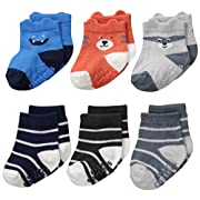 Carter's Baby Boys' 6 Pack Computer Socks (6 Pack), Monster/Critter- blue, grey, orange, 0-3 Months