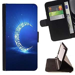- Moon Night - - Prima caja de la PU billetera de cuero con ranuras para tarjetas, efectivo Compartimiento desmontable y correa para la mu?eca FOR HTC M8 One 2 King case