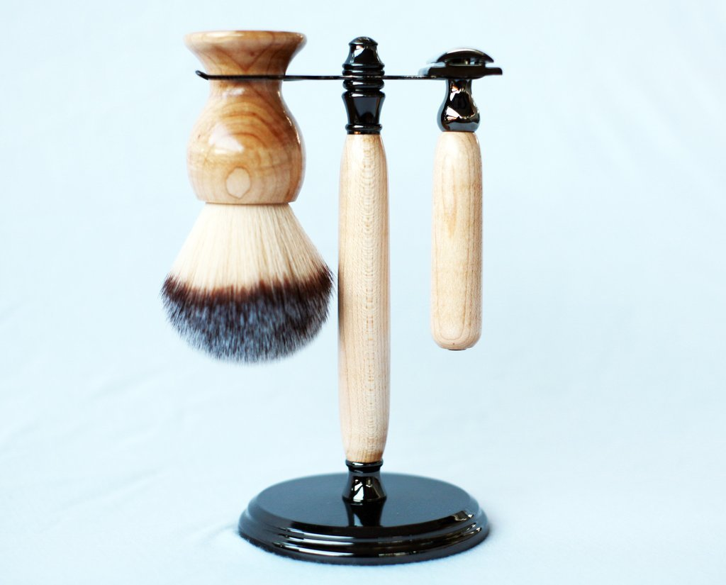 Maple shave set in gunmetal, safety razor, shave brush and matching brush and razor stand.