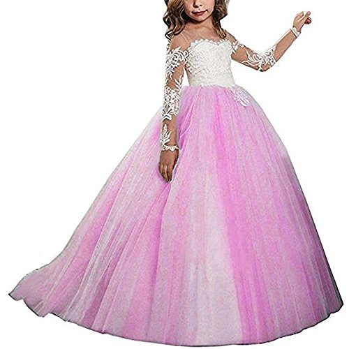 Kalos Dress Shop Lace Bodice Tulle Puffy Flower Girl Dress Lace Appliques Girls First Communion Dress Pageant Gowns
