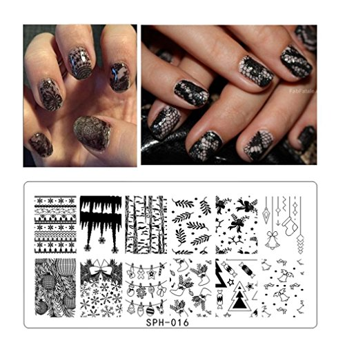 Leewa@ Holiday Themed Nail Art Stamping Plates - Occasions Collection, Halloween+Christmas -6x12cm (G)
