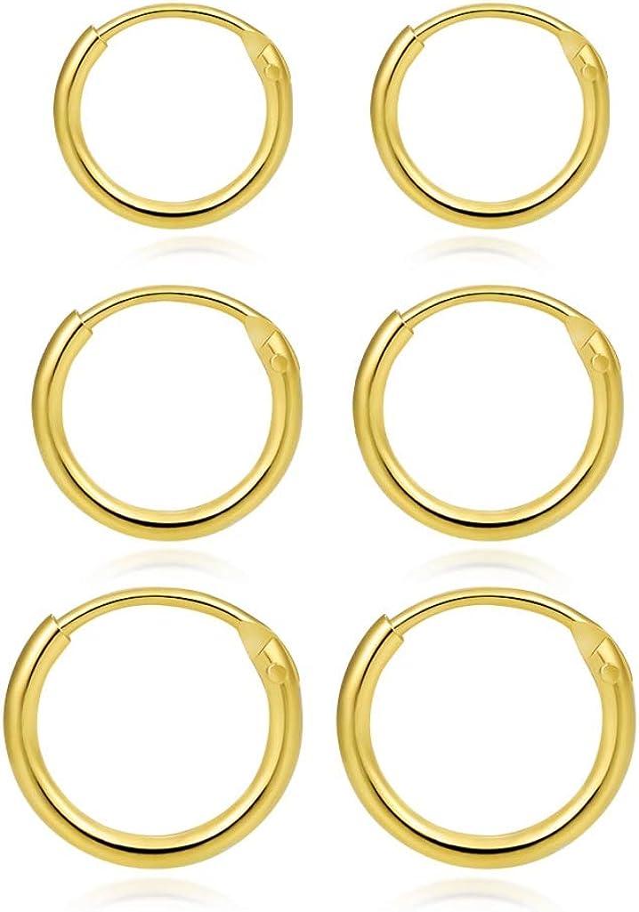 14K Gold Plated Small Hoop Earrings Sterling Silver Endless Tiny Hoop Earrings Set for Men Cartilage Nose Lip Rings 8/10/12mm