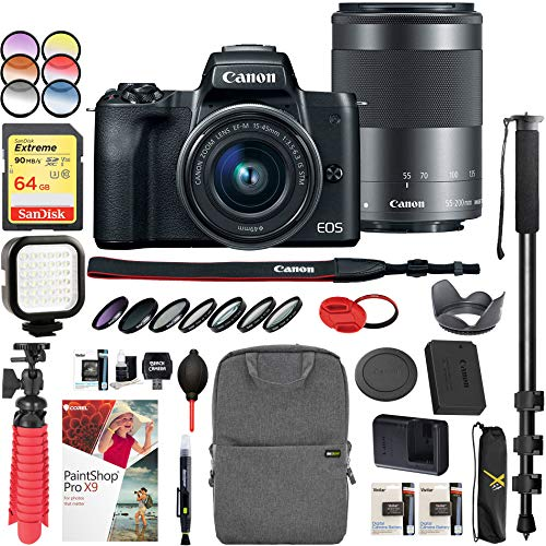 Canon EOS M50 Mirrorless Camera w/ 4K Video EF-M 15-45mm Lens and EF-M 55-200mm Lens Bundle with Backpack Monopod SanDisk 64GB SDXC Memory Card and Battery Kit
