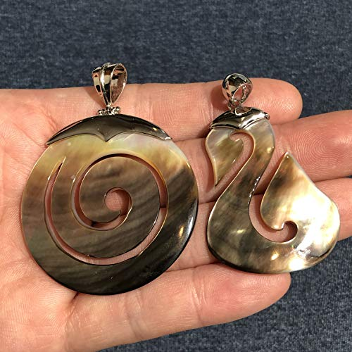 [ABCgems] Tahitian Black Lip Oyster Shell (Hand-Carved Ammonite Or Maori Peace Patten) Pendant for Jewelry - Lip Pearl Pendant Mother Of