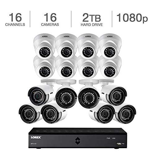 Lorex 16 Channel 1080p 2TB DVR Security System with 16 1080p