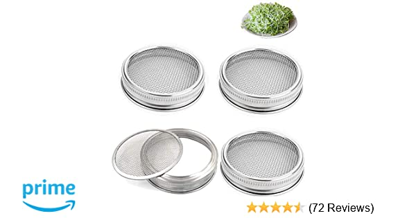 Amazon Set Of 4 Stainless Steel Sprouting Jar Lid Kit For