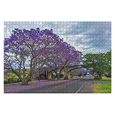 Railway Bridge and Street in Grafton, Australia During Jacaranda 1000 Piece Wooden Jigsaw Puzzle DIY Children Educational Puzzles Adult Decompression Gift Creative Games Toys Puzzles Home Decor: Toys & Games