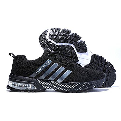 Sneakers Sportschuhe Turnschuhe Fitness Laufschuhe Trainers Damen Schwarz HMIYA Herren Pures Atmungsaktiv Running qwz7aH7Ax