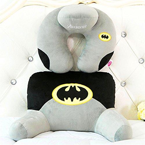 Cute Cartoon Super Heros Design Soft Lumbar Pillow Waist Back Cushion+U Neck Pillow Warm Plush Cotton Cushion for Home Office Car Sofa Bed(Batman) (Batman Plush Pillow)