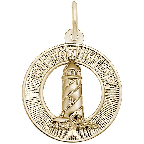Hilton Head Charm (Gold Plated Lighthouse, Hilton Head, Sc Charm, Charms for Bracelets and Necklaces)