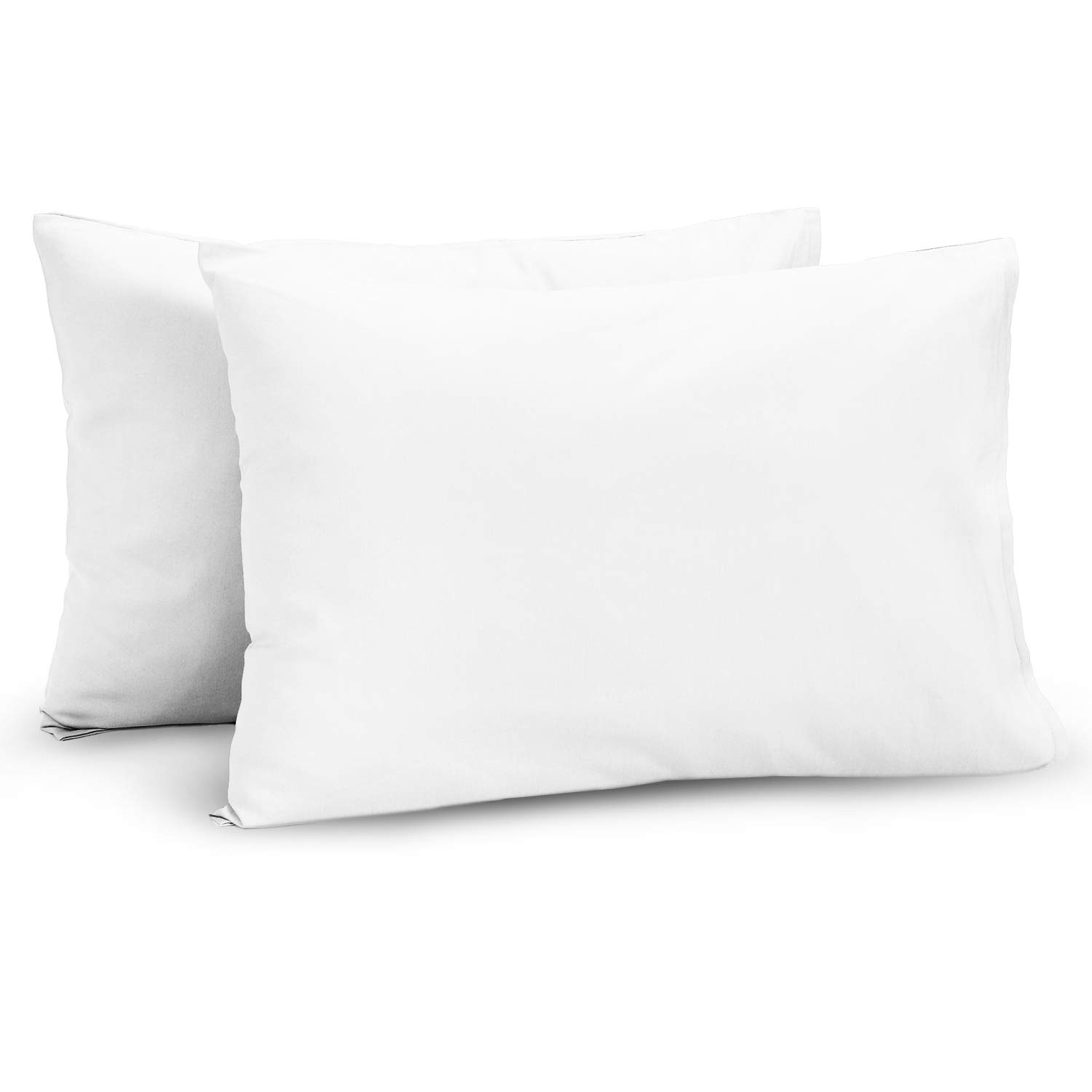TILLYOU Cotton Collection Breathable Toddler Pillowcases Set of 2 Machine Washable & Super Soft, 14x20 - Fits Pillows Sized 12x16 13x18 or 14x19, Envelope Closure Travel Pillow Case Cover, White