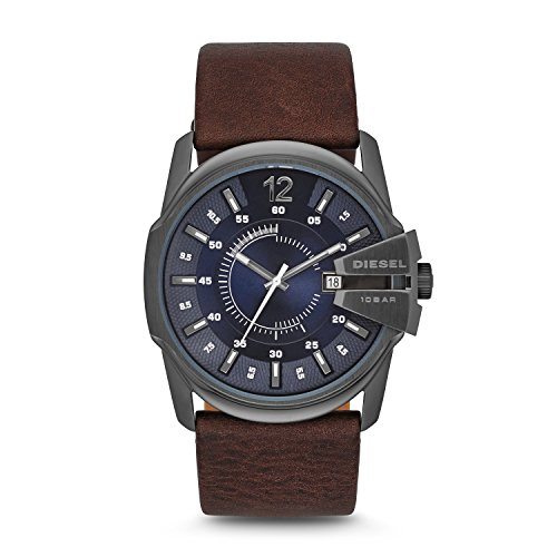 Diesel Master Chief Brown Leather Blue Dial Male Watch DZ1618