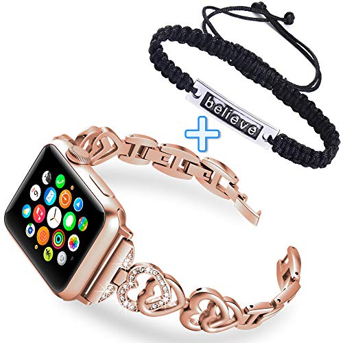 KARBYE Heart Shaped Watch Band Compatible for Apple Watch Band 38mm 40mm Rose Gold + Believe Wave Bracelet Handcrafted Jewelry for Women, Iwatch Bands 38mm 40mm for Series 4/3/2/1 (Women Rose Gold)
