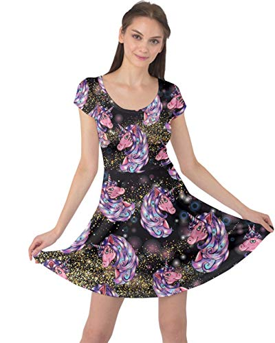 (CowCow Womens Girly Unicorn Black Stars Cap Sleeve Dress - XL)